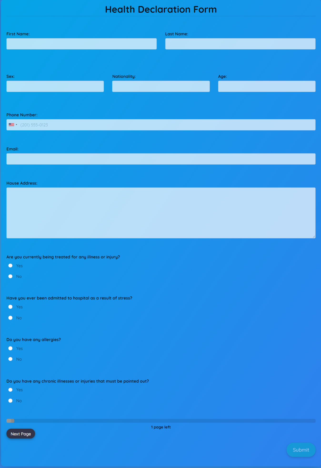 Health Declaration Form Template template