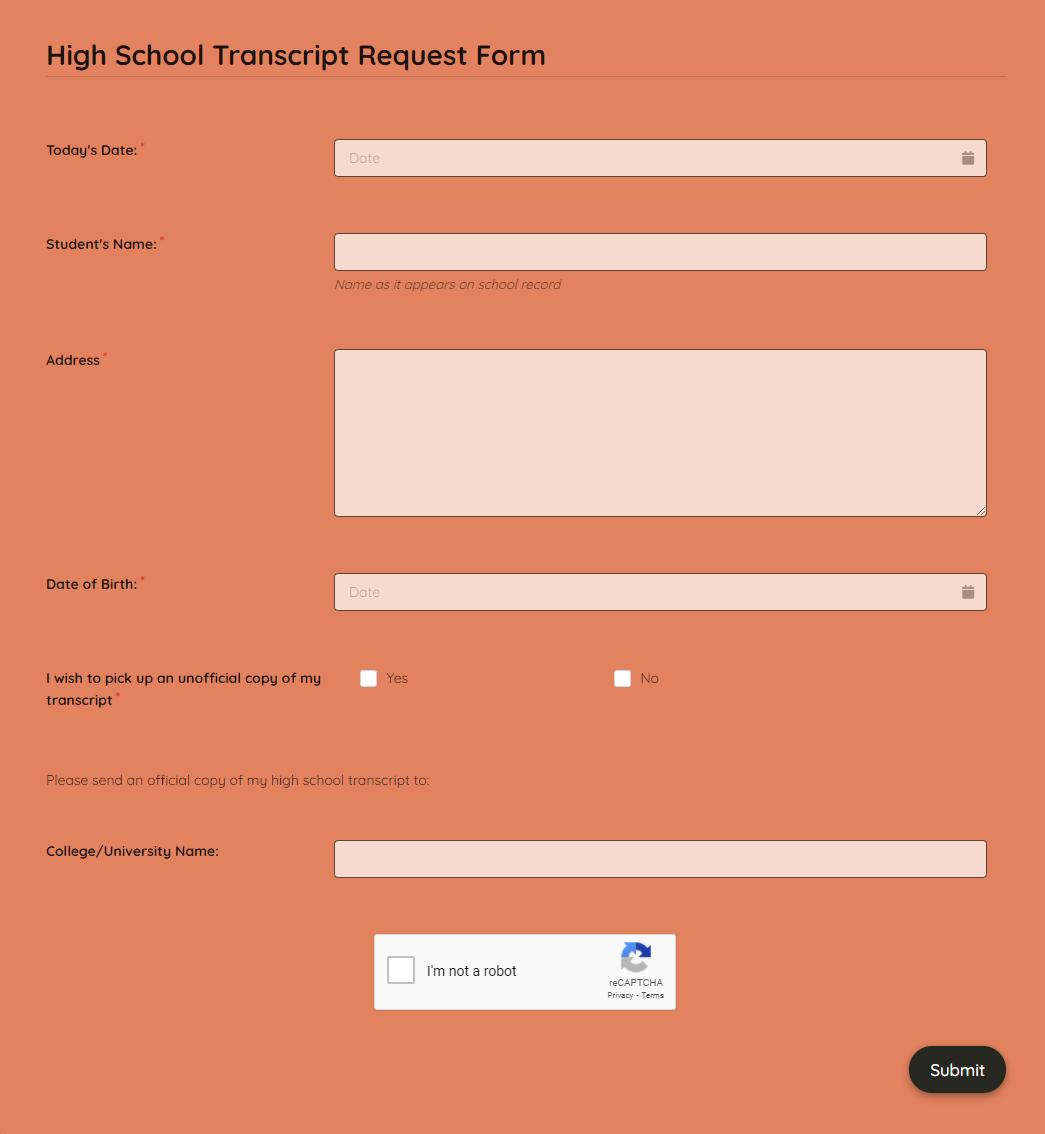 High School Transcript Request Form Template template