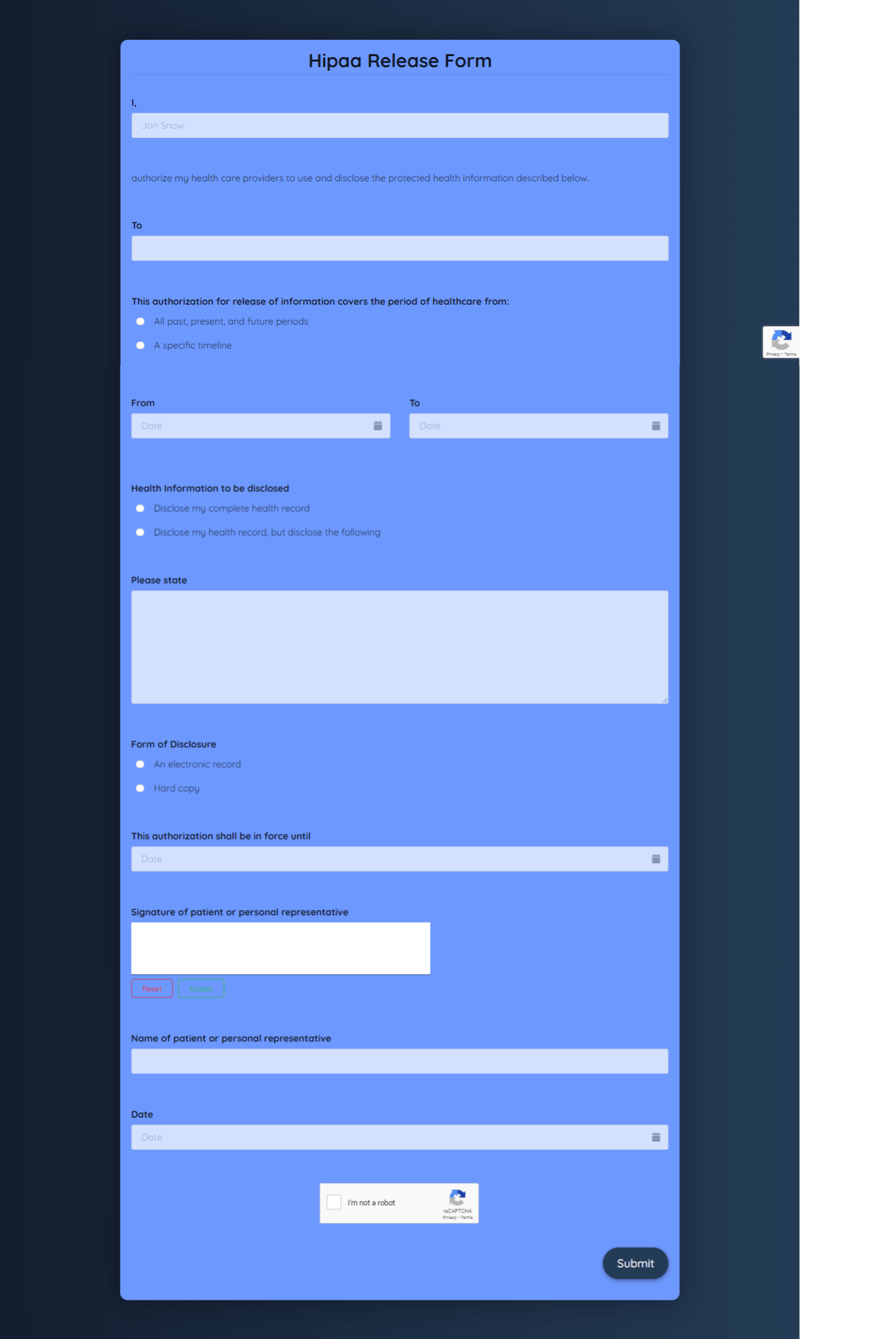 Hipaa Release Form Template template