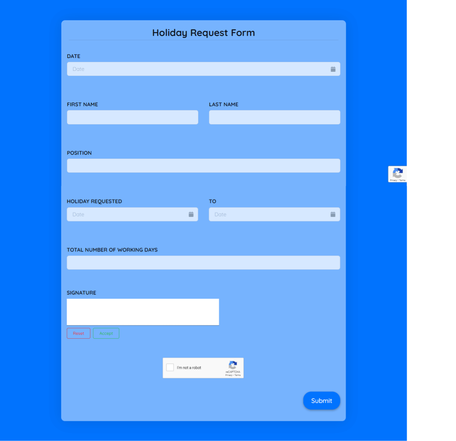 Holiday Request Form Template template