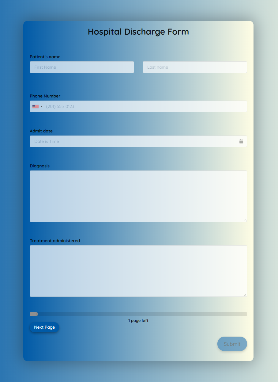 Hospital Discharge Form Template template