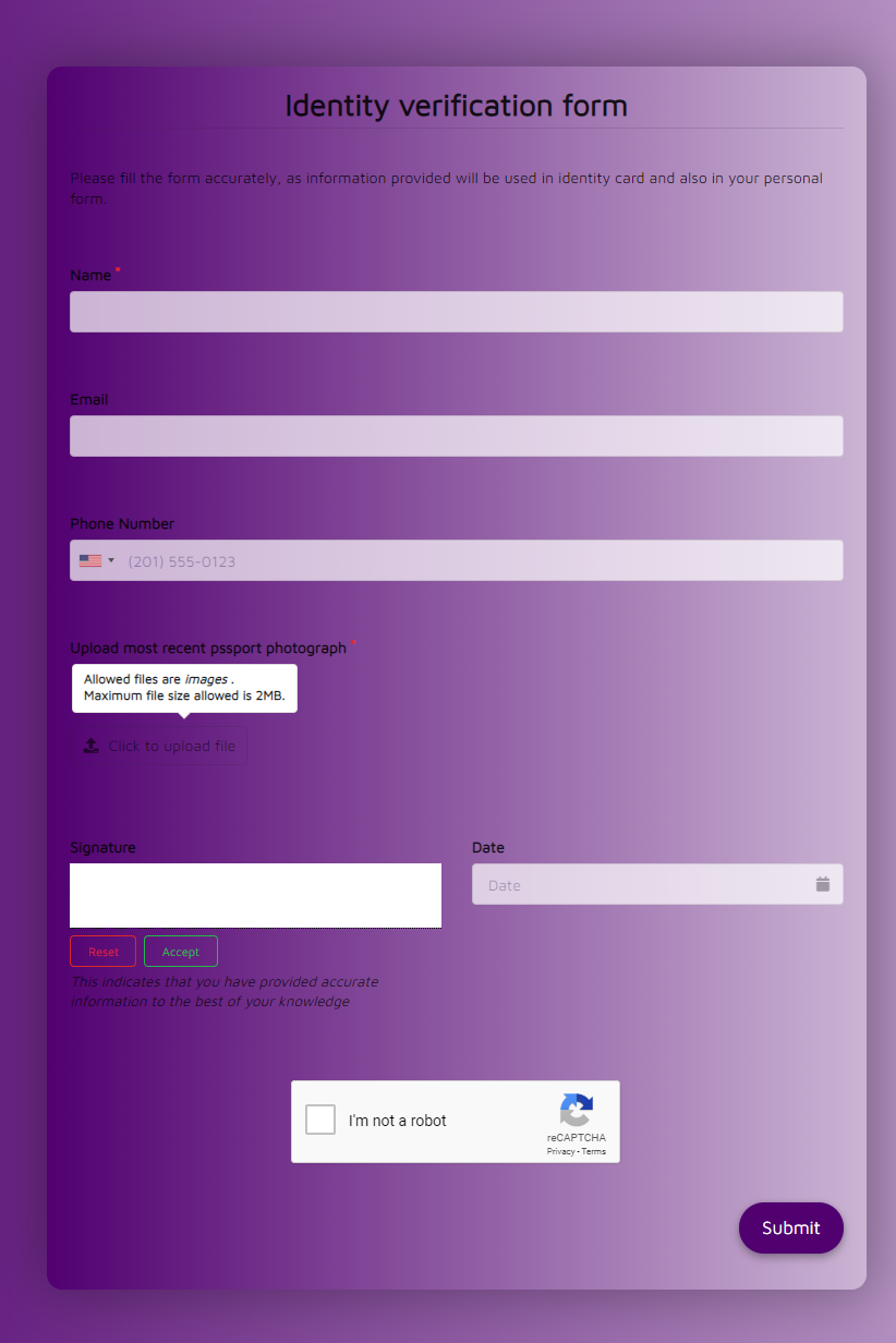 Free Identity Verification Form Template template