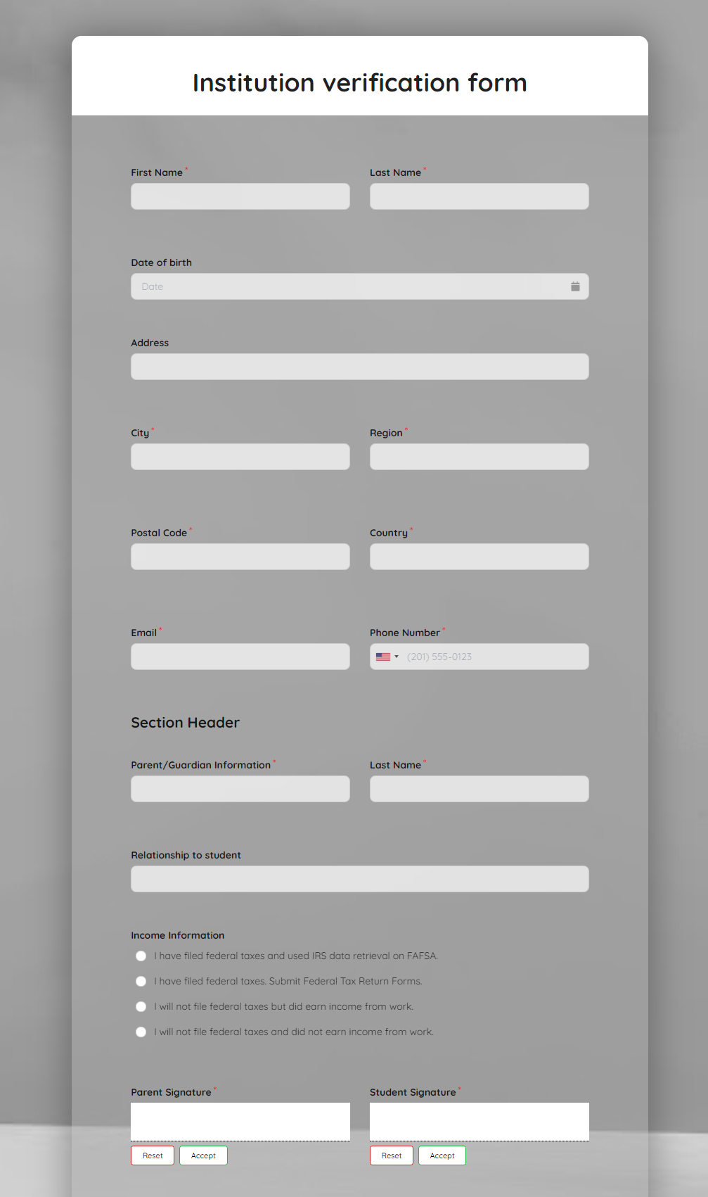 Institution Verification Form Template template