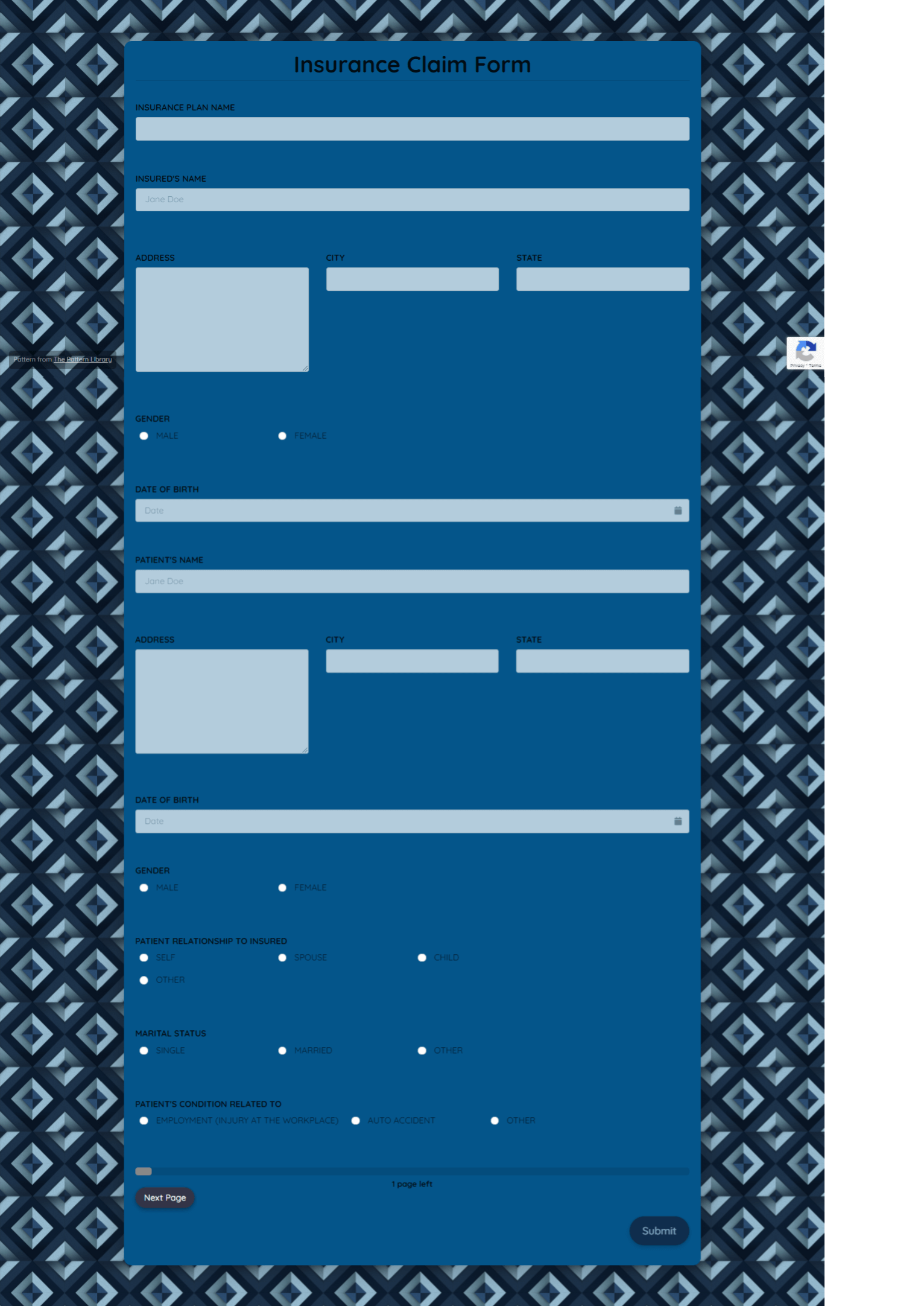 Insurance Claim Form Template template