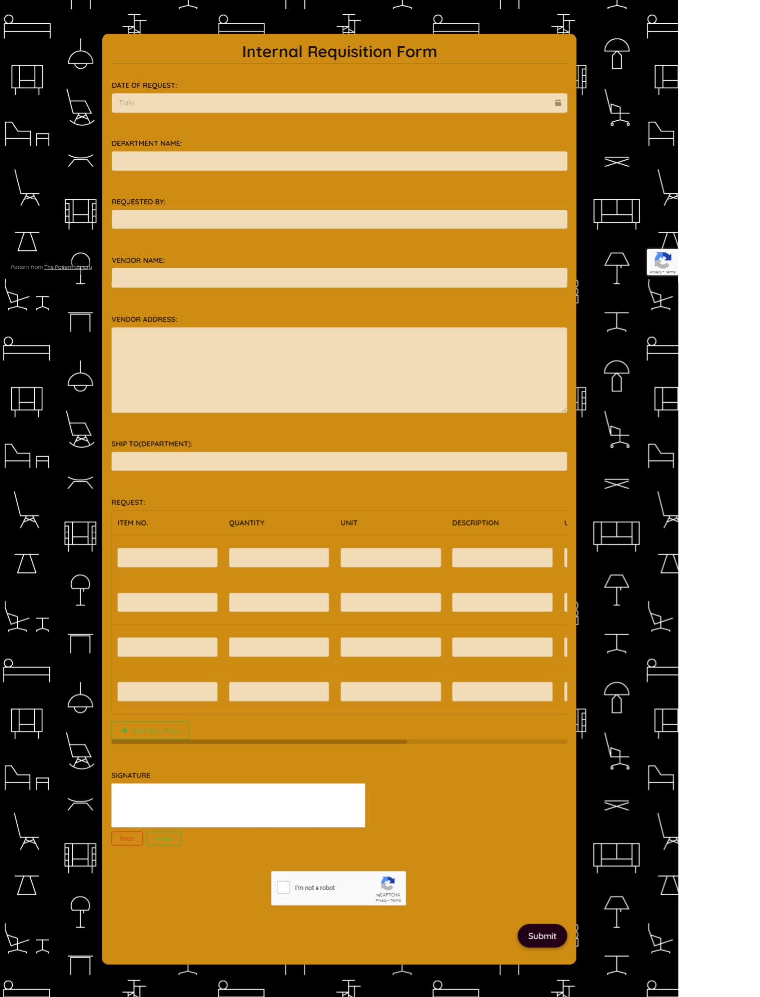 Internal Requisition Form Template template