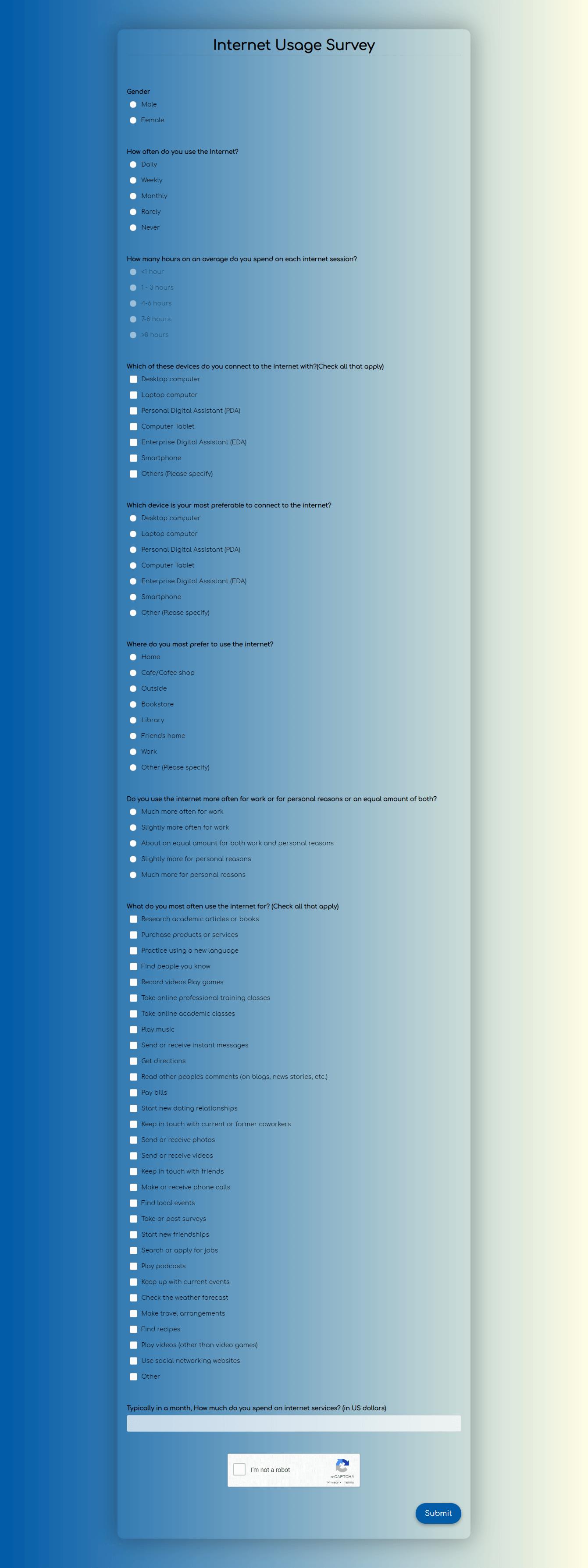 Internet Usage Survey Template template
