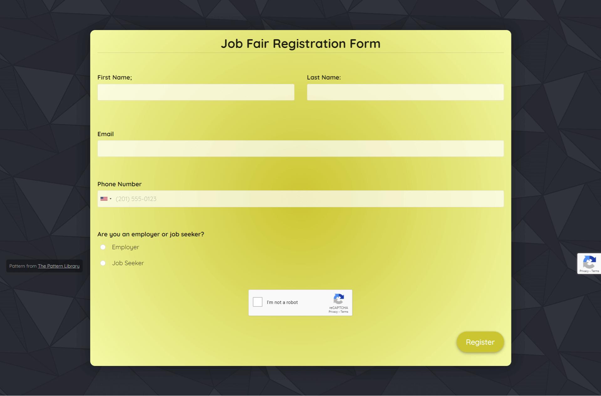 Job Fair Registration Form Template template