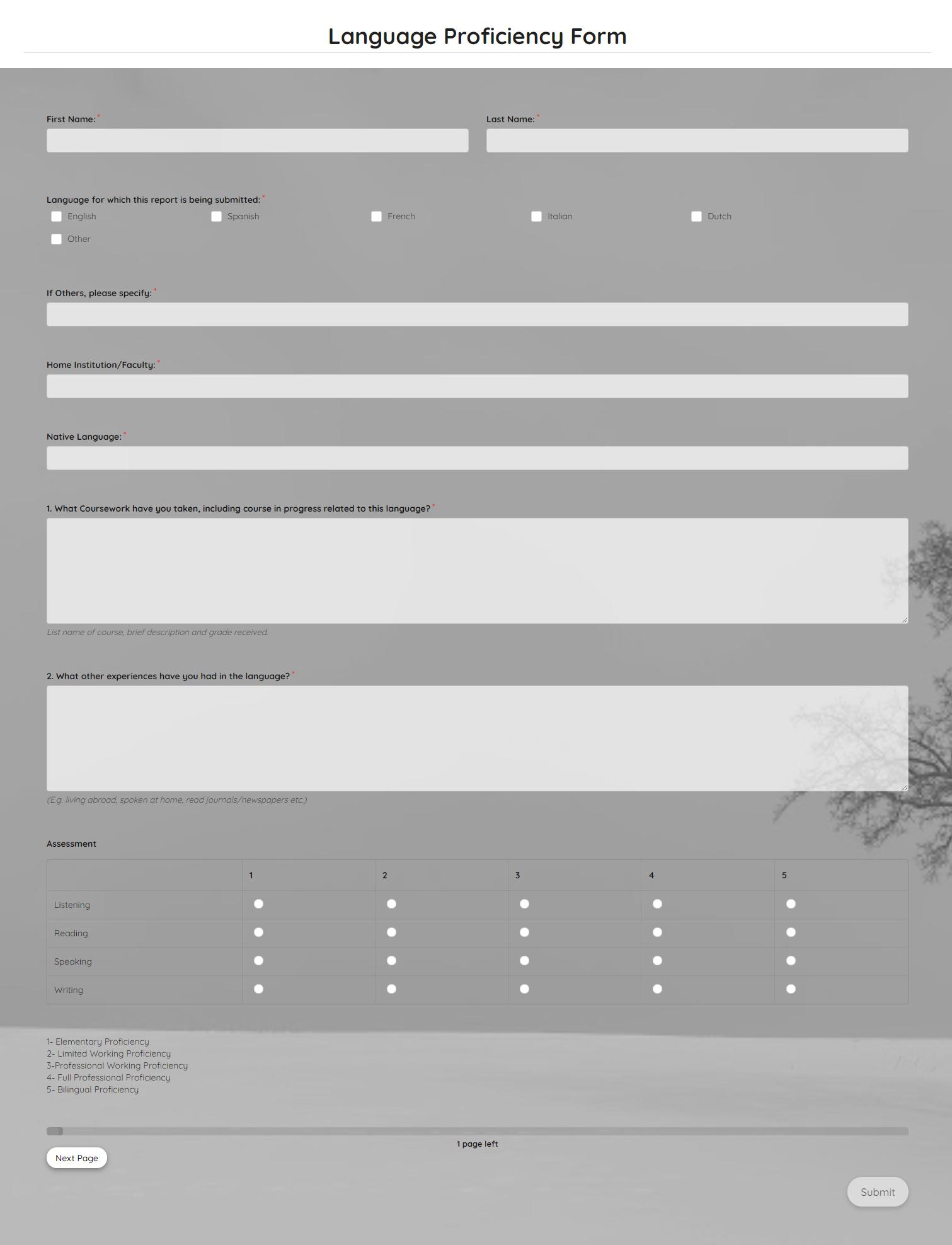 Language Proficiency Form Template template