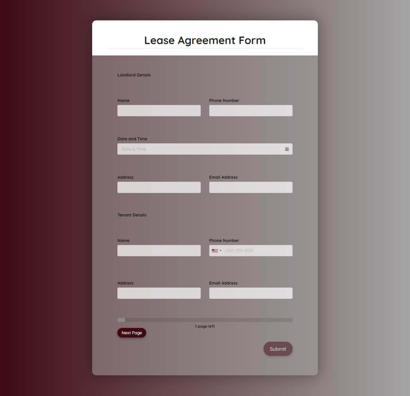 Lease Agreement Form Template template