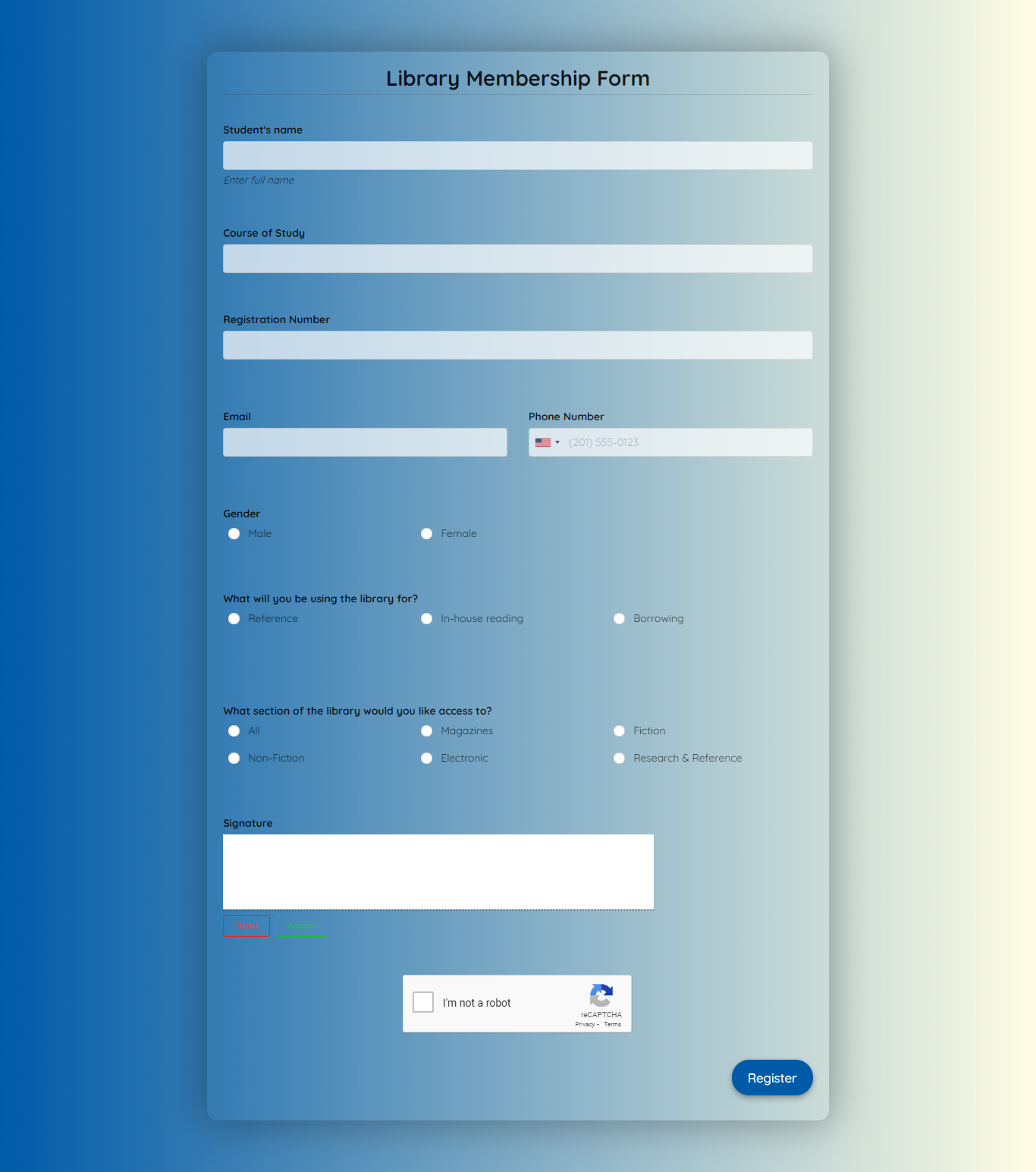 Library Membership Form Template template