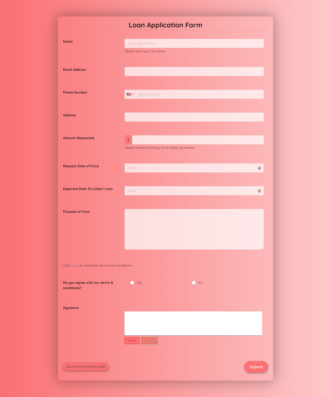 Loan Application Form Template template