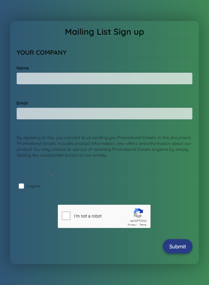 Mailing List Newsletter Signup Form Template template