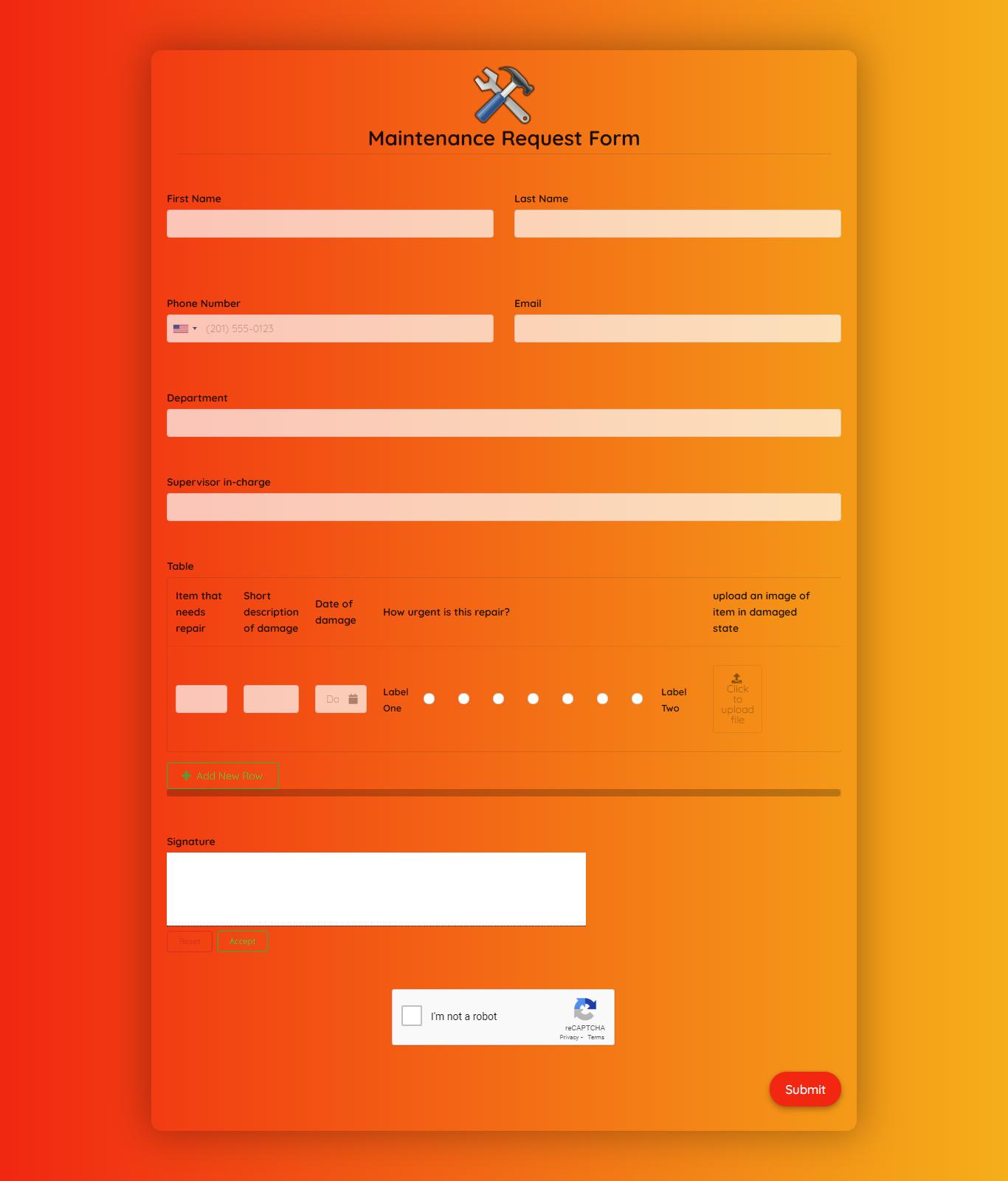 Maintenance Request Form Template template