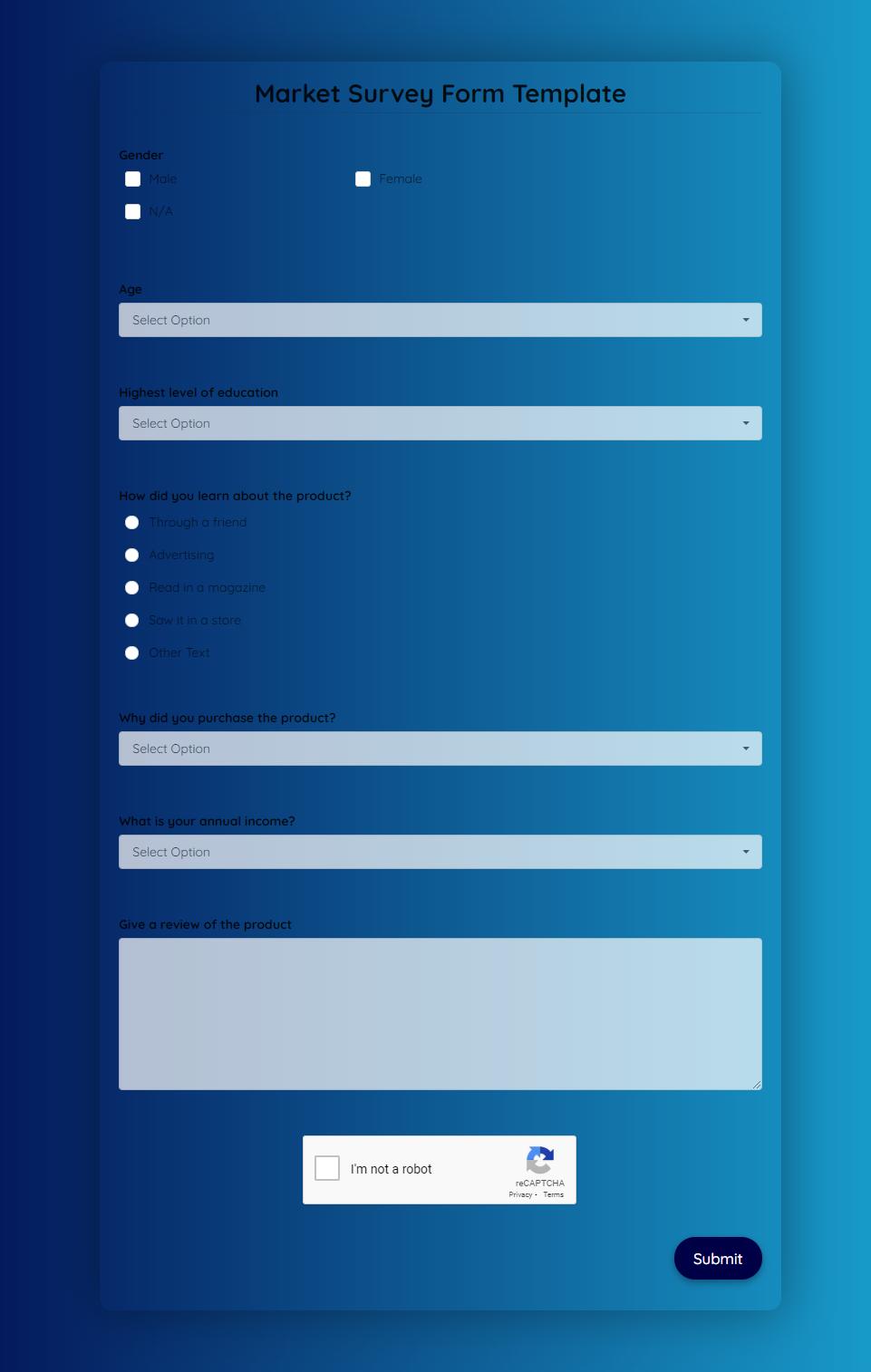 Market Survey Form Template template