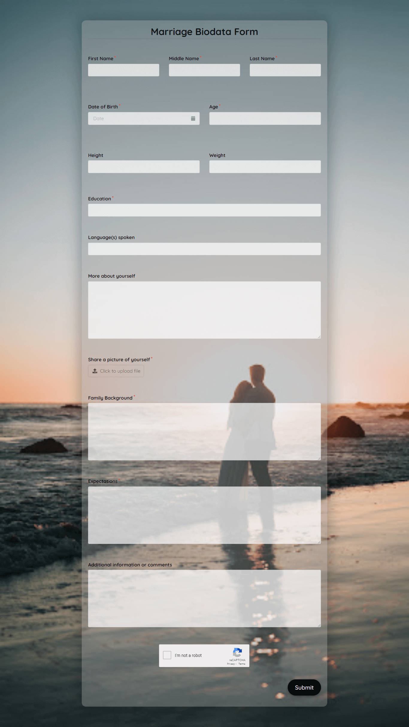 Marriage Biodata Form template