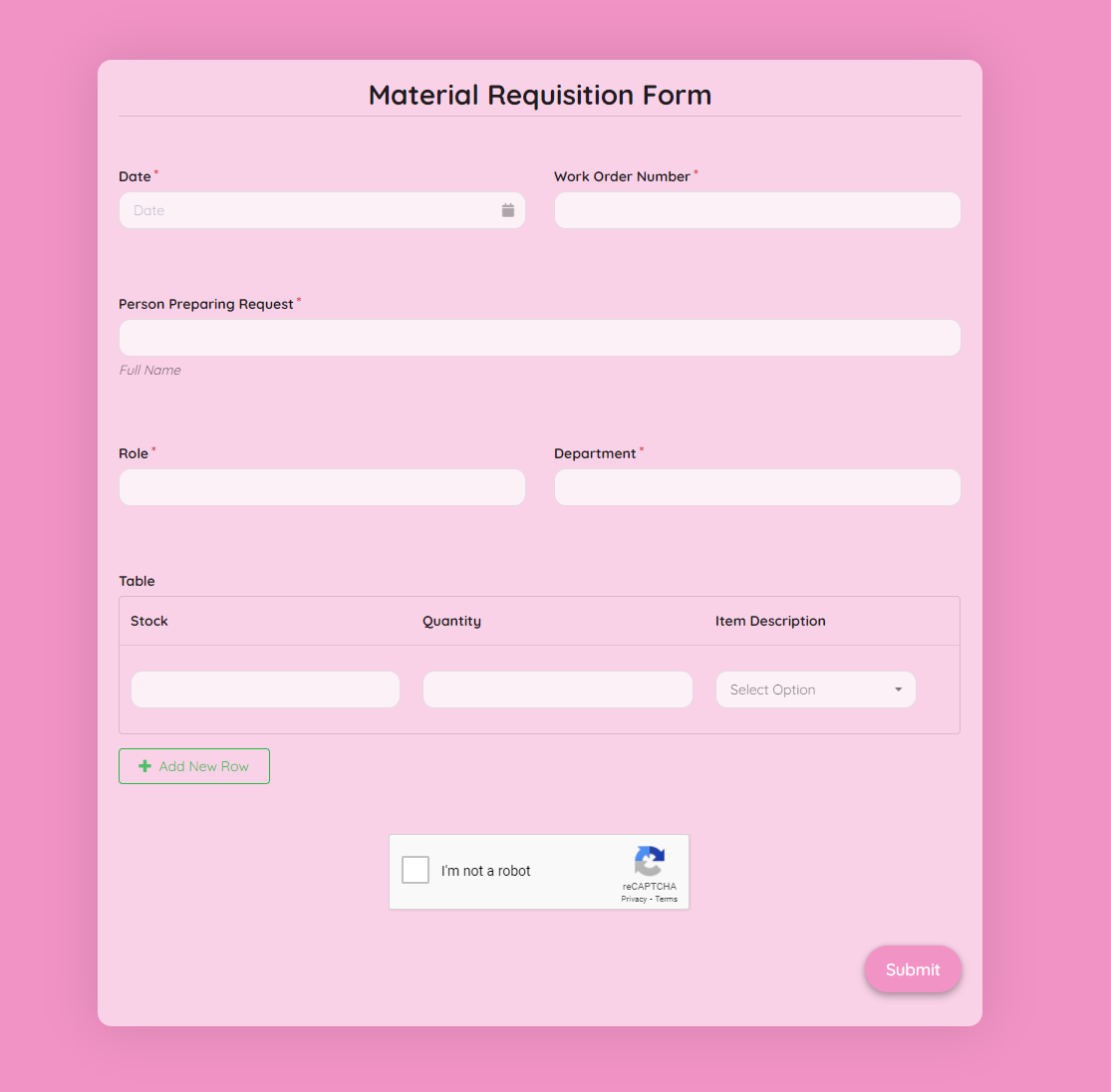 Material Requisition Form Template template