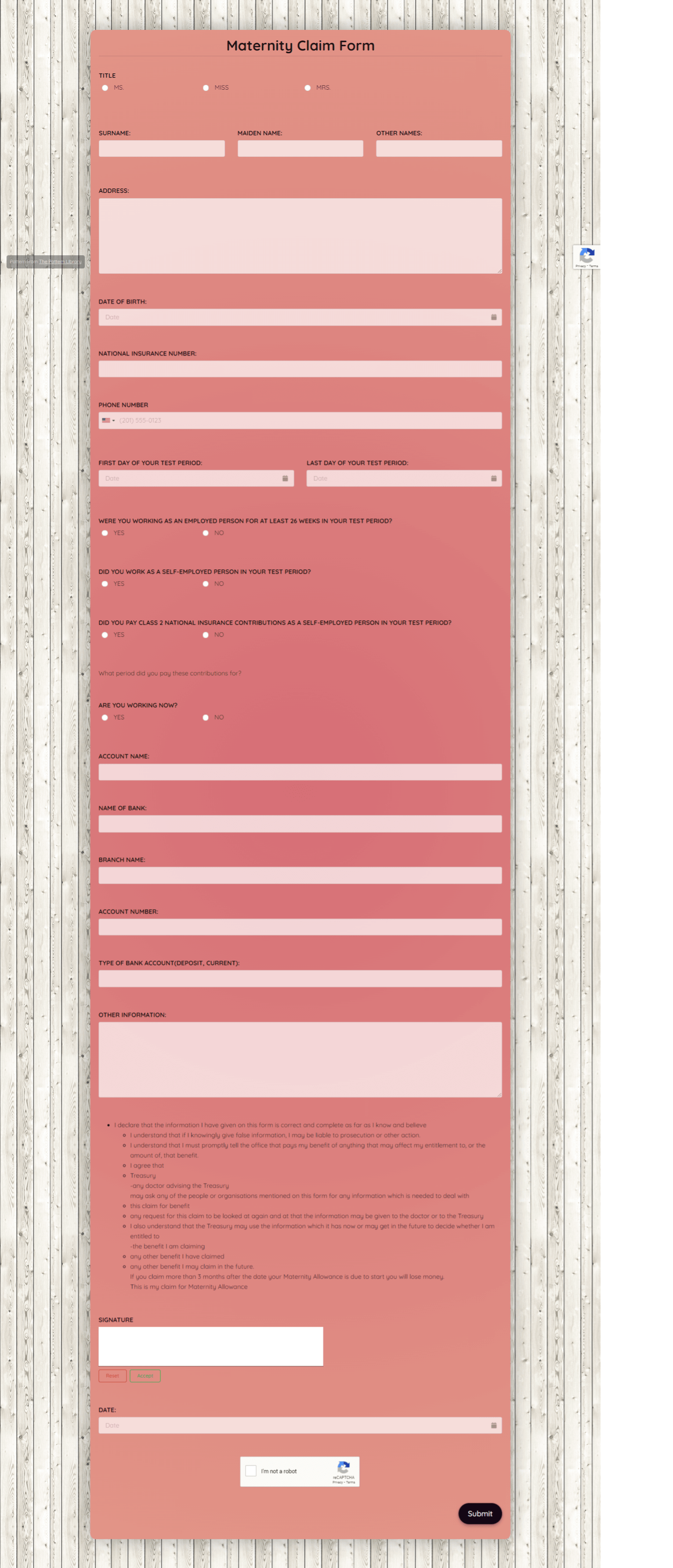 Maternity Claim Form Template template
