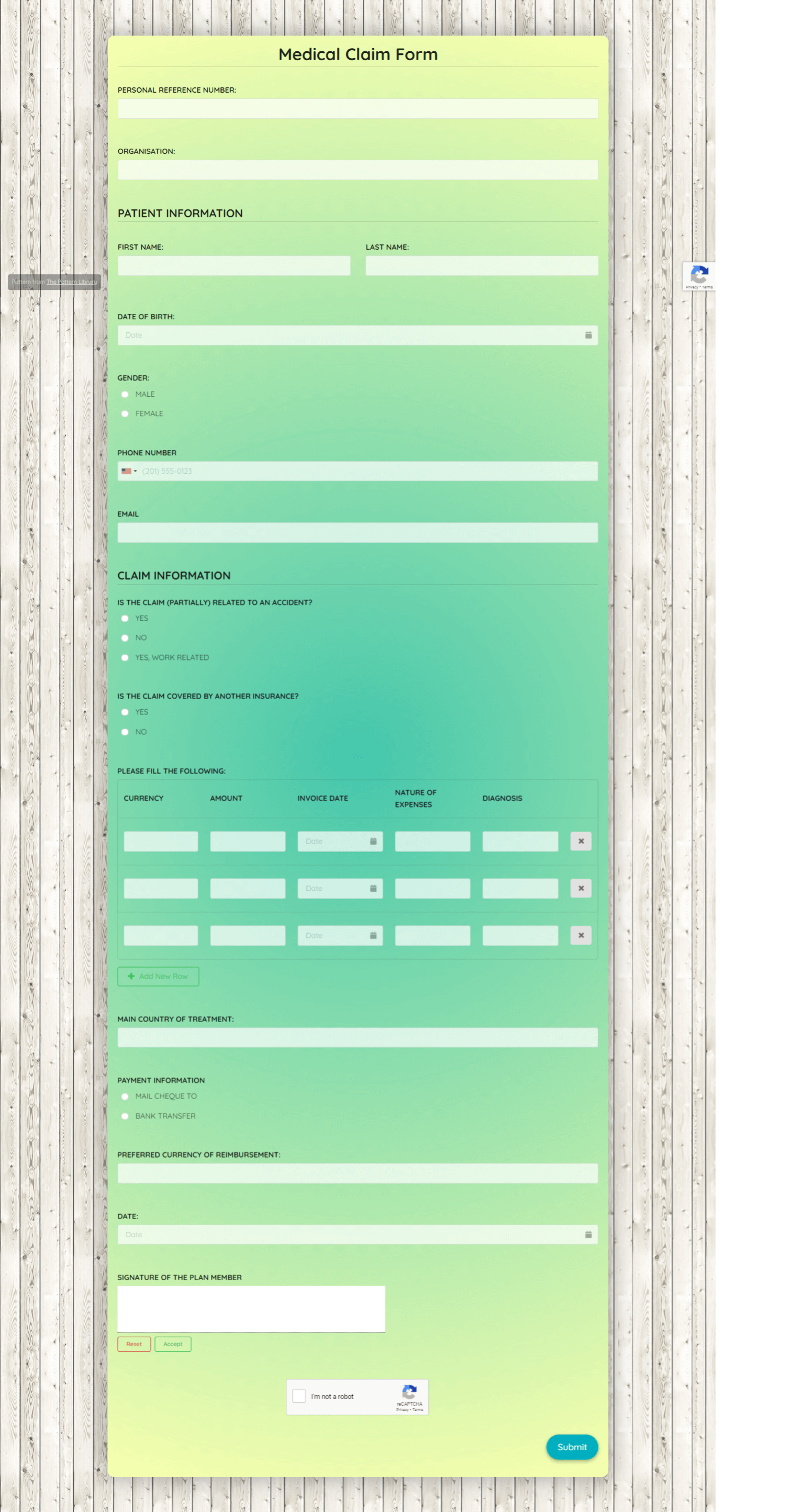 Medical Claim Form Template template