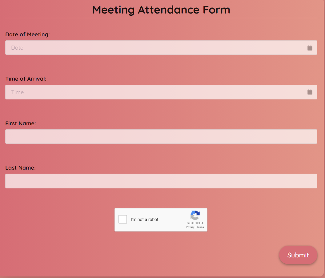 Meeting Attendance Form Template template
