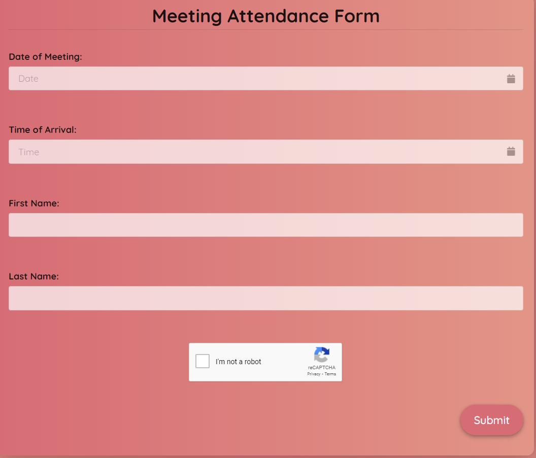 Meeting Attendance Form Template template