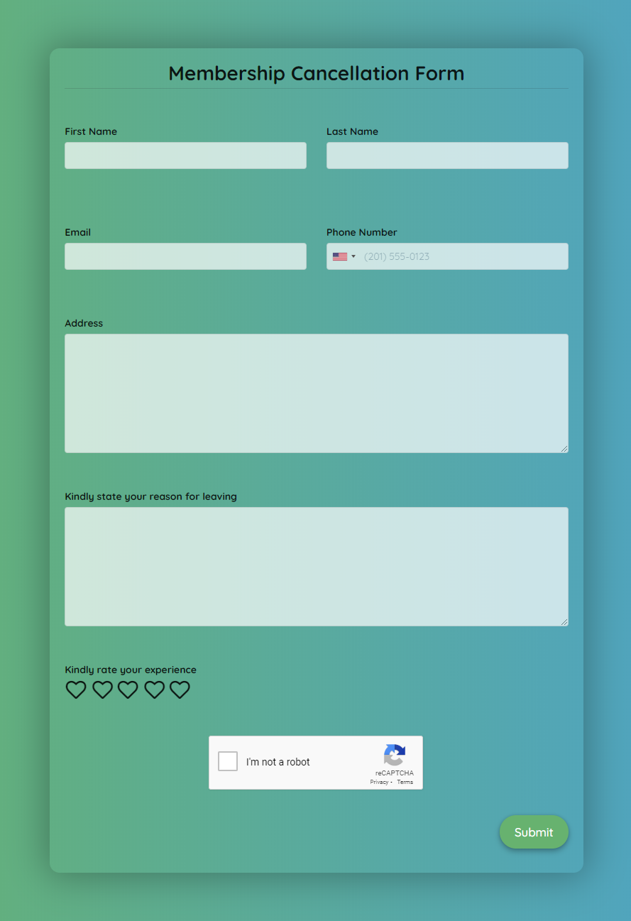 Free Membership Cancellation Form Template template