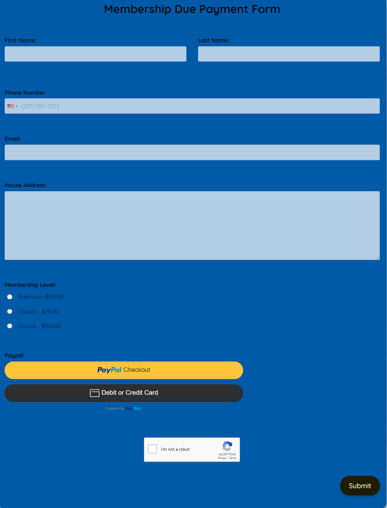 Membership Due Payment Form Template template