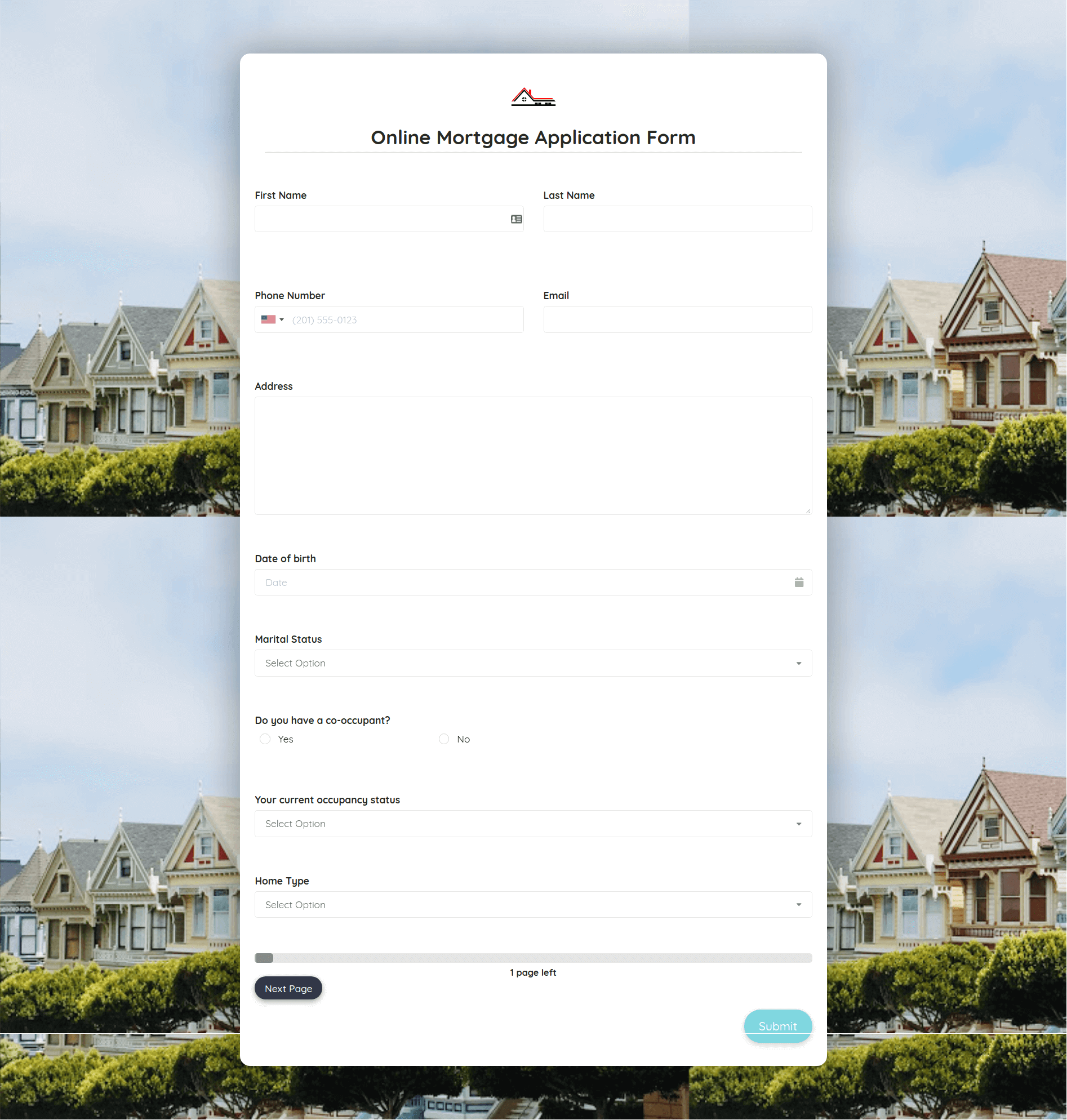 Mortgage Application Form Template template