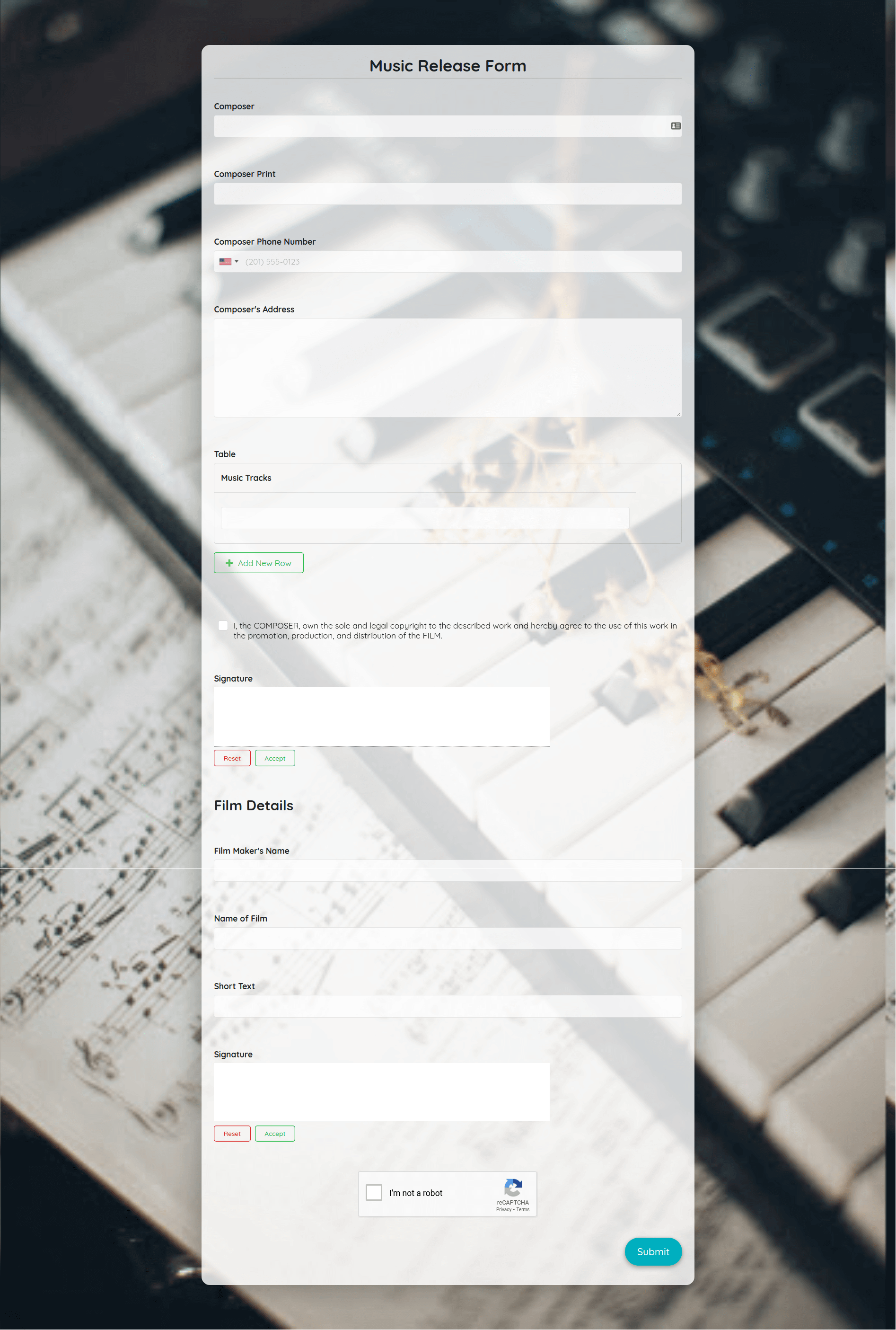 Music Release Form Template template