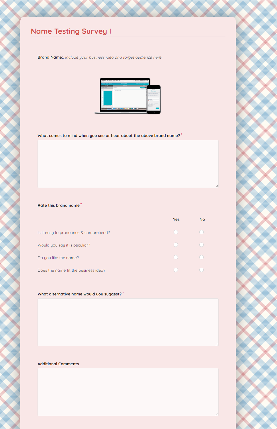 Name Testing Survey Template template