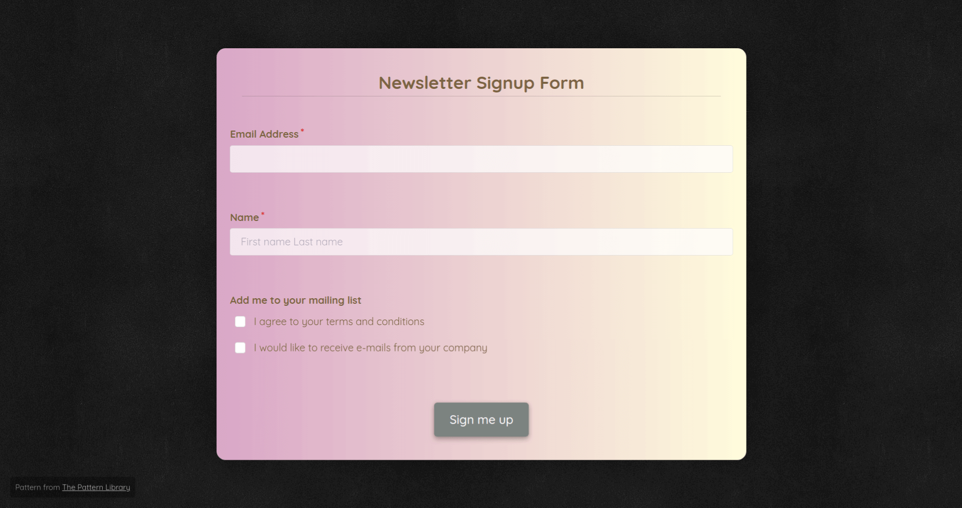 Newsletter Signup Form Template template