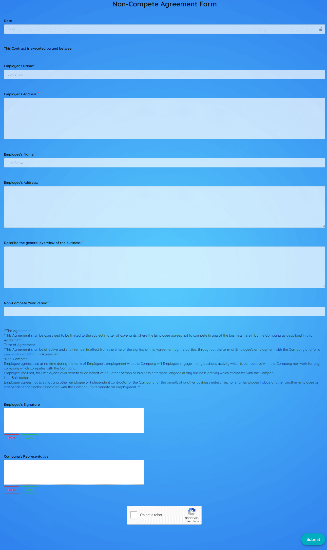 Non Compete Agreement Form Template template