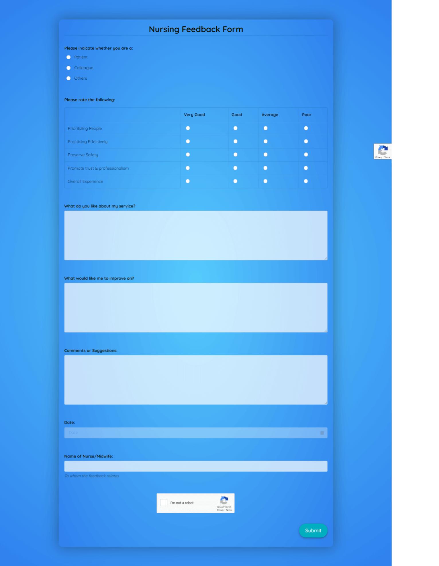 Nursing Feedback Form Template template