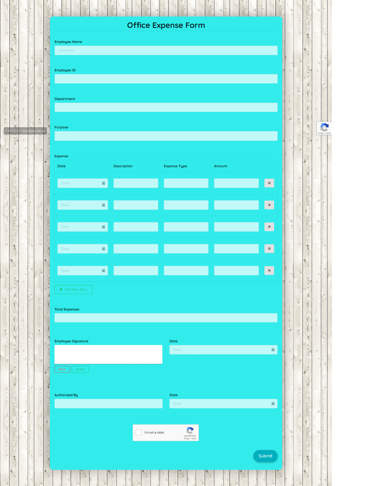Office Expense Form Template template