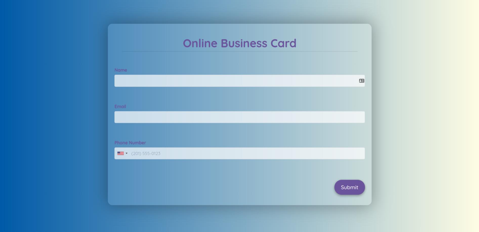 Online Business Card Template template