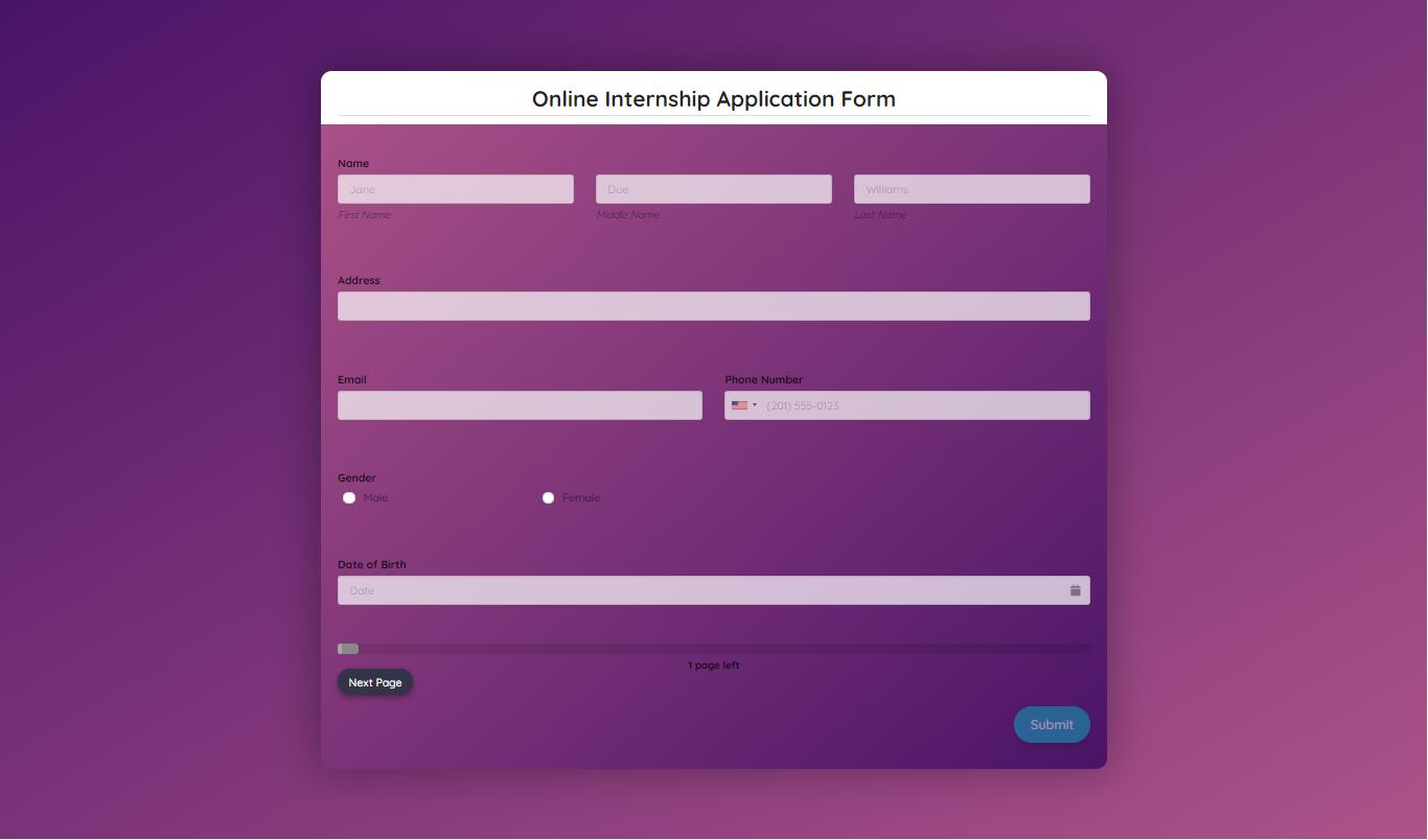 Online Internship Application Form Template template