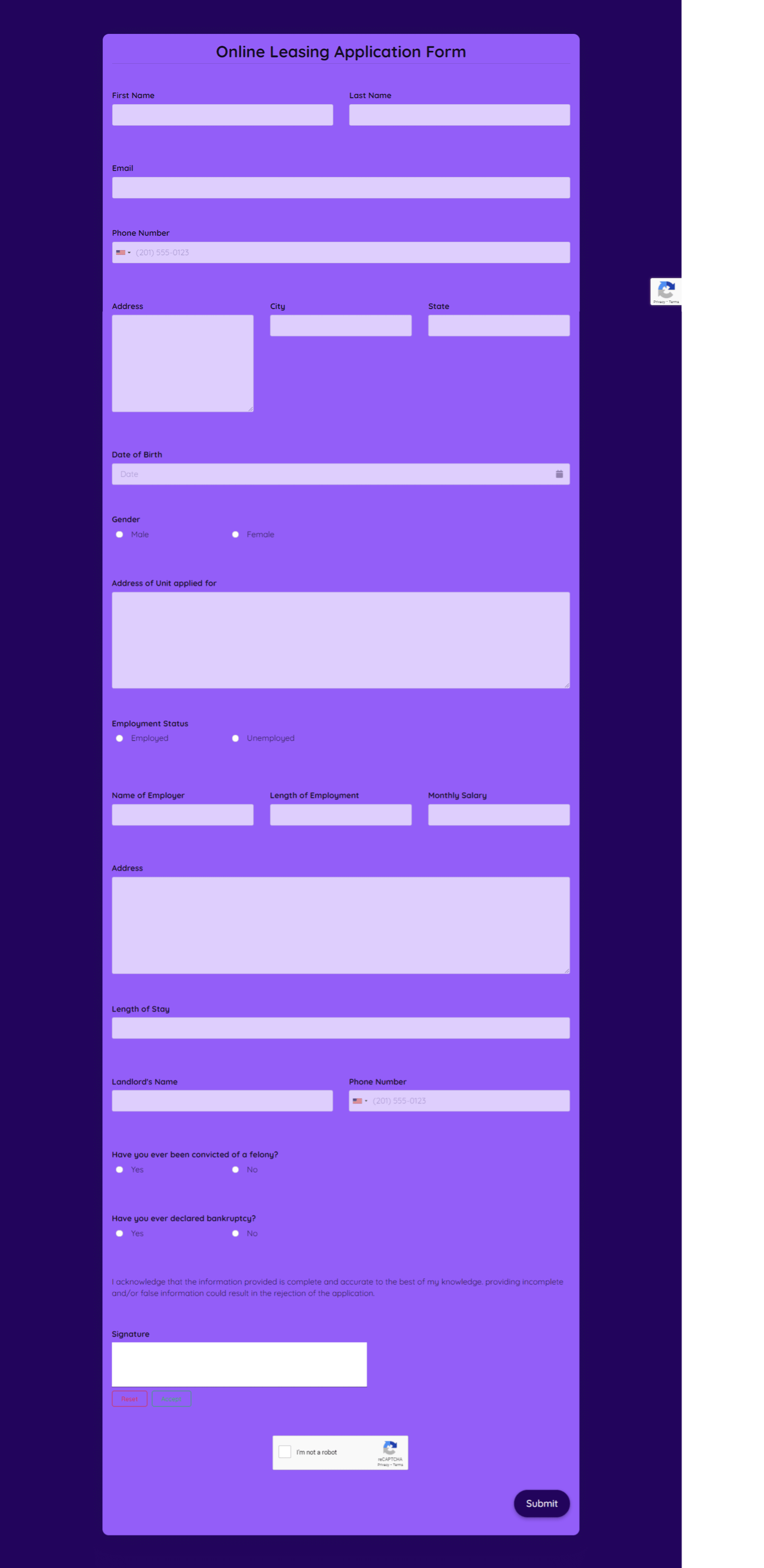 Online Leasing Application Form Template template