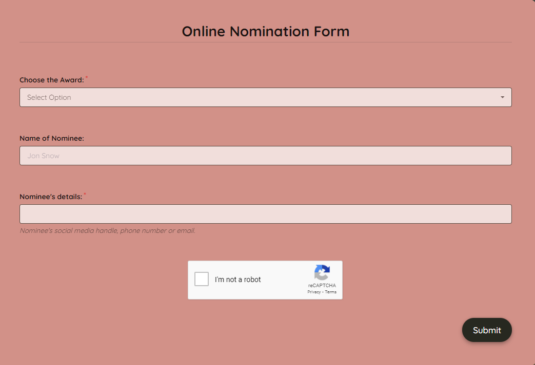 Online Nomination Form Template template