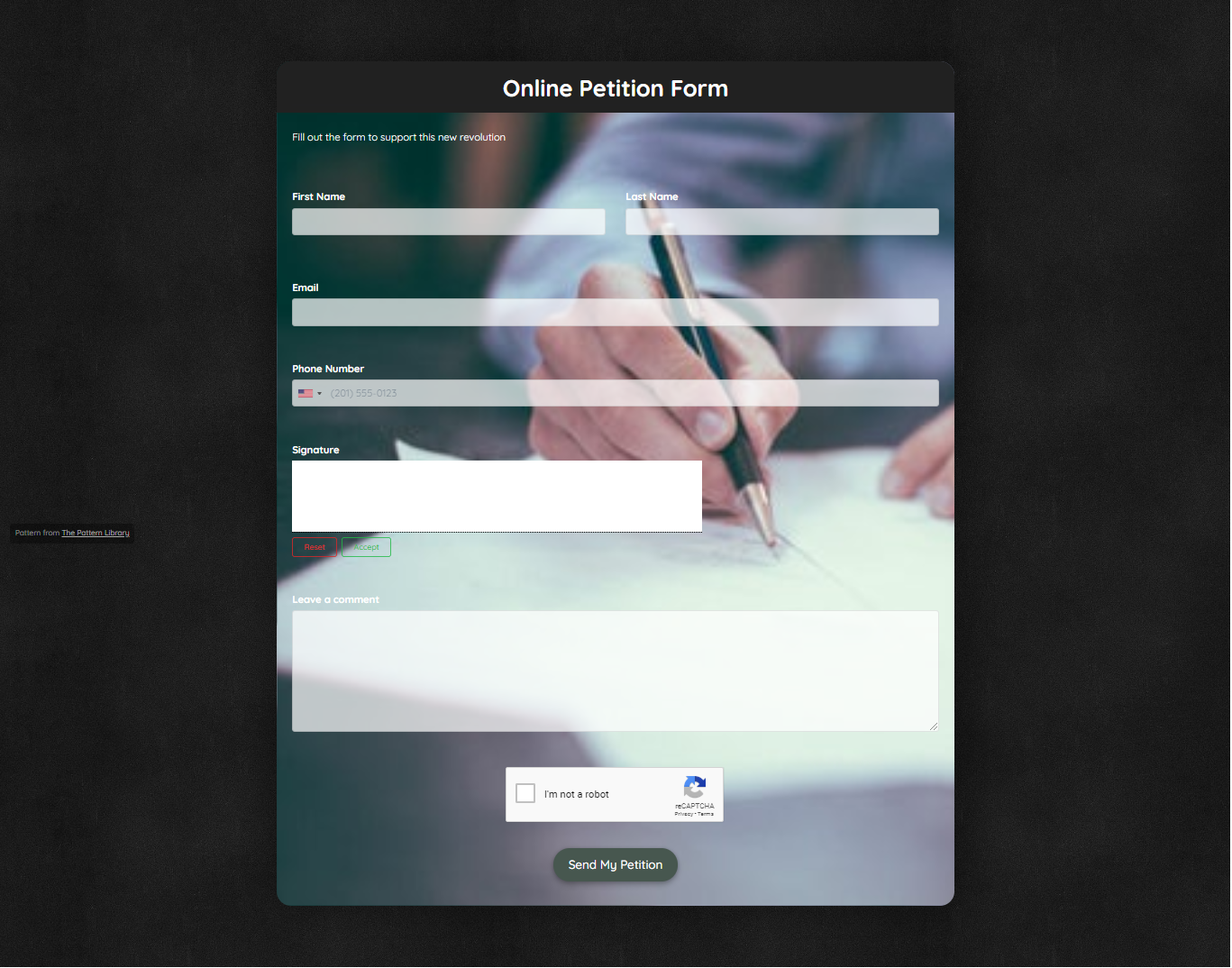 Online Petition Form Template template