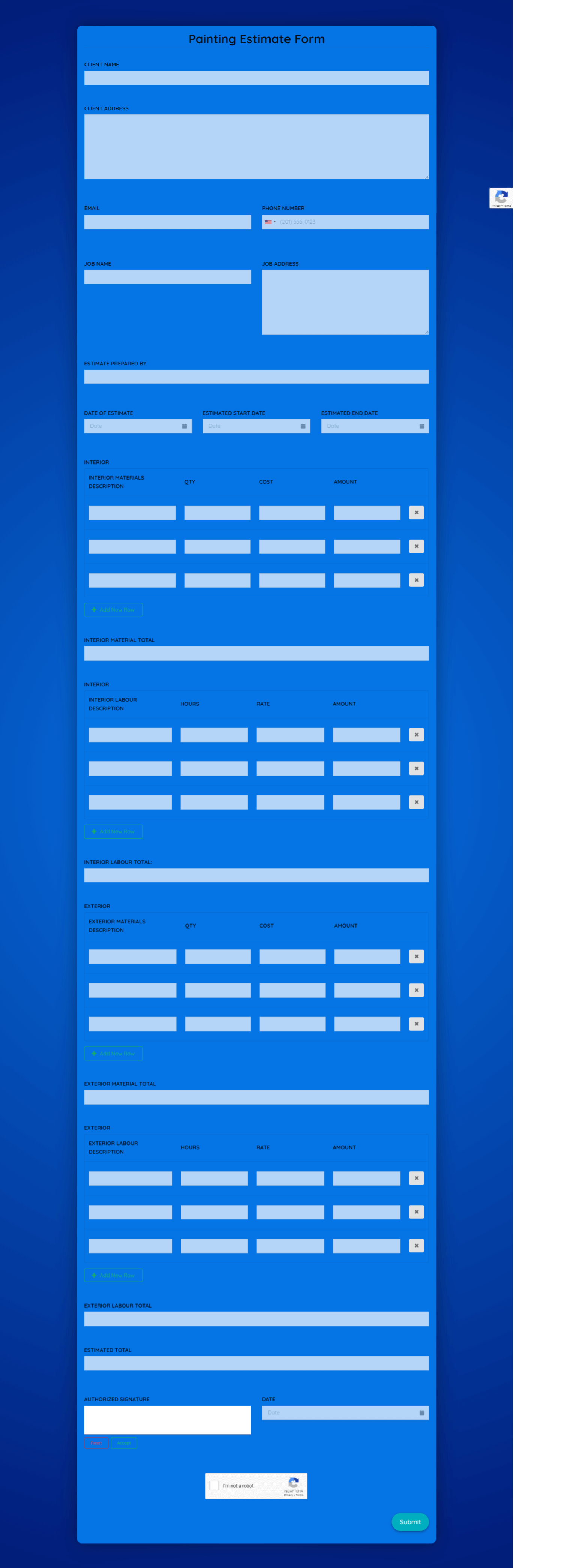 Painting Estimate Form Template template