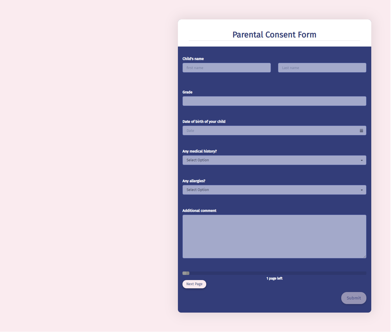 Parental Consent Form Template template