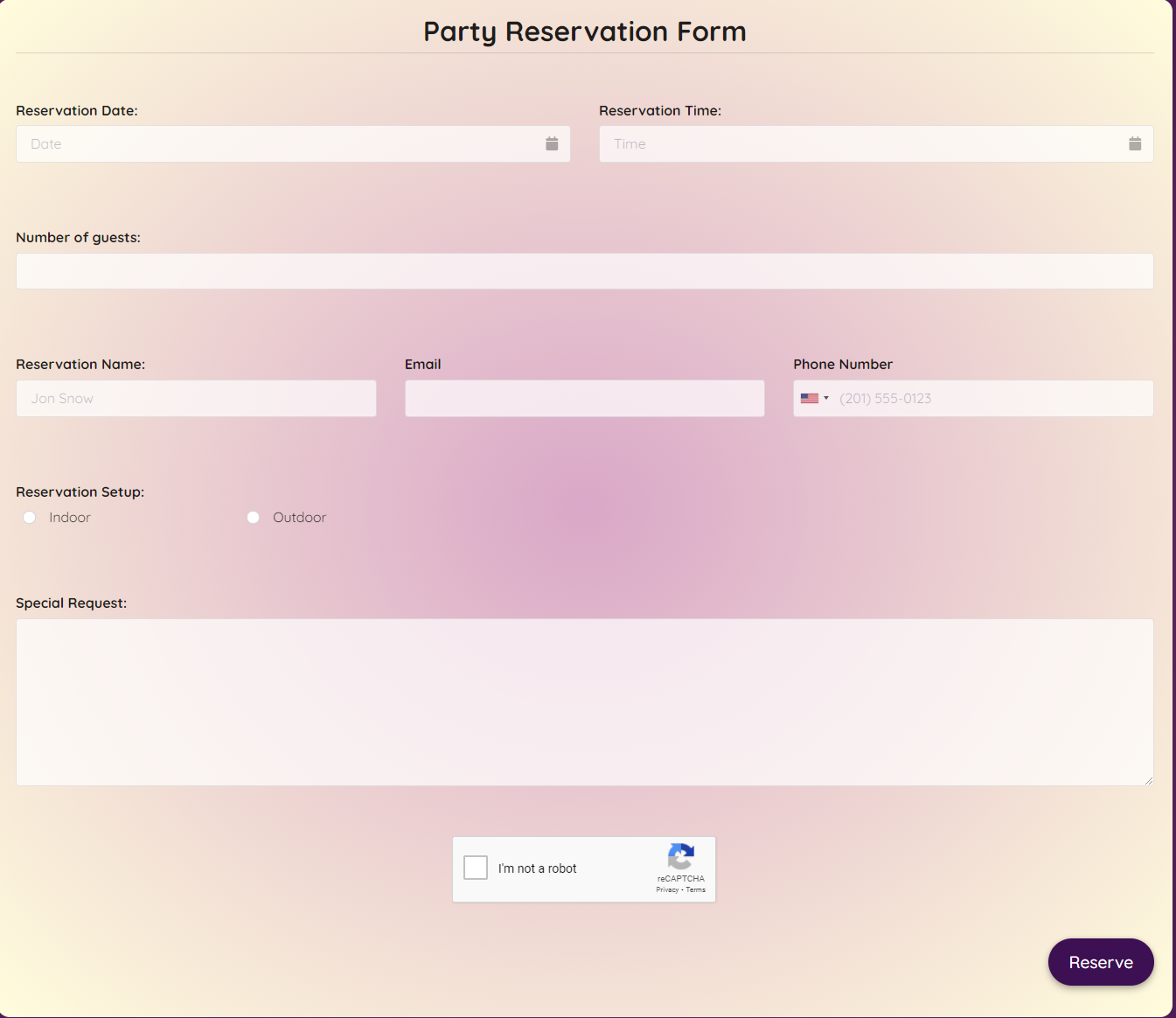 Party Reservation Form Template template