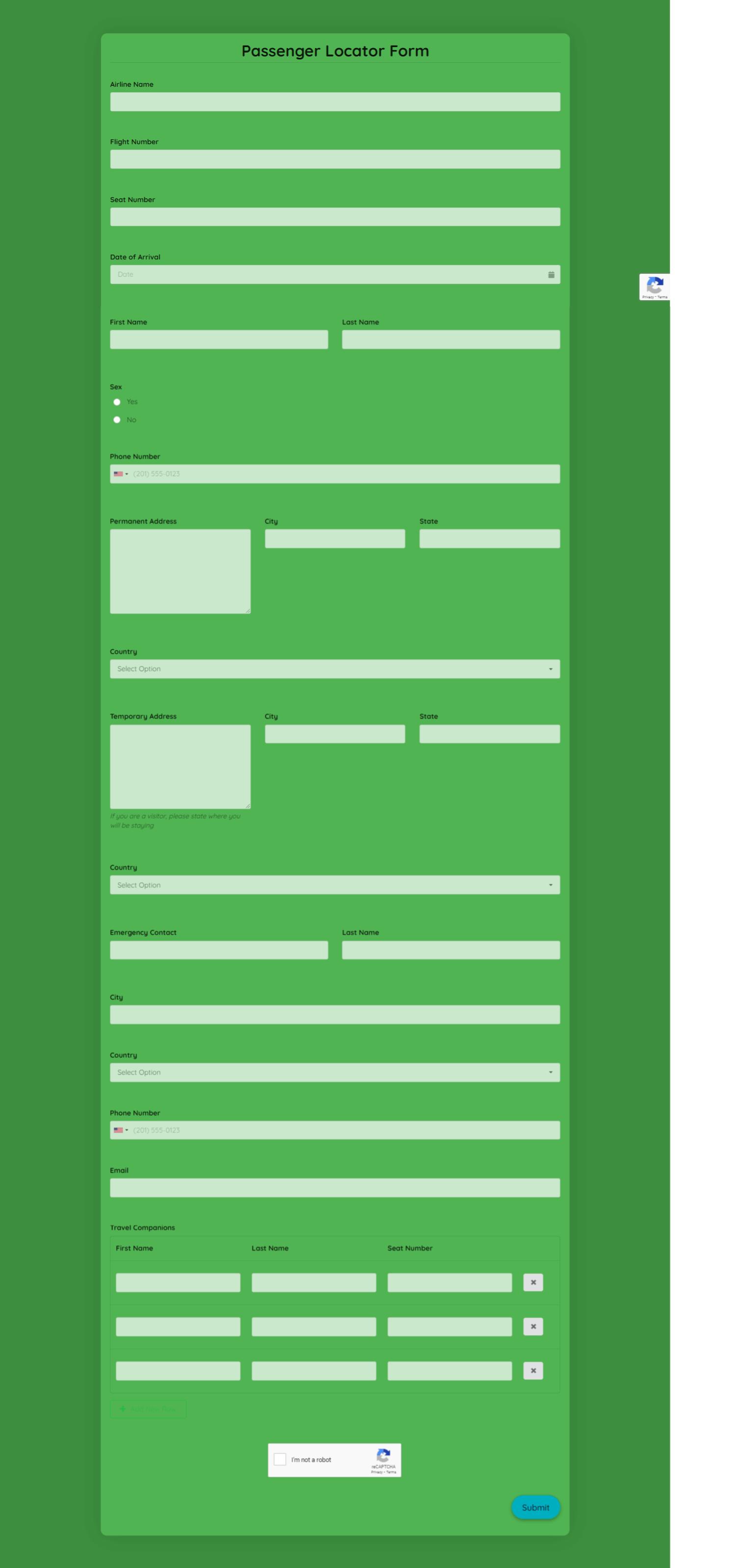 Passenger Locator Form Template template