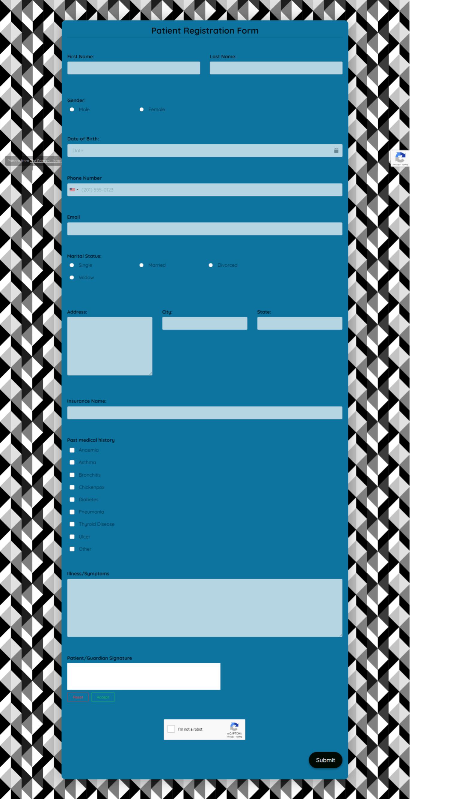 Patient Registration Form Template template