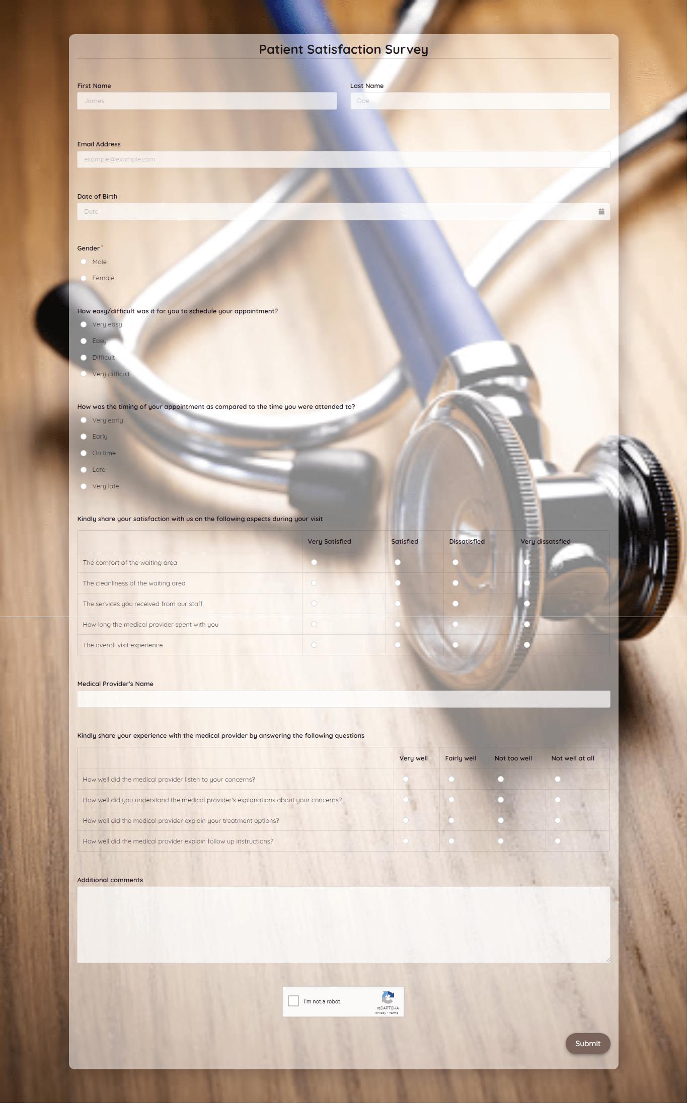 Patient Satisfaction Survey Template template
