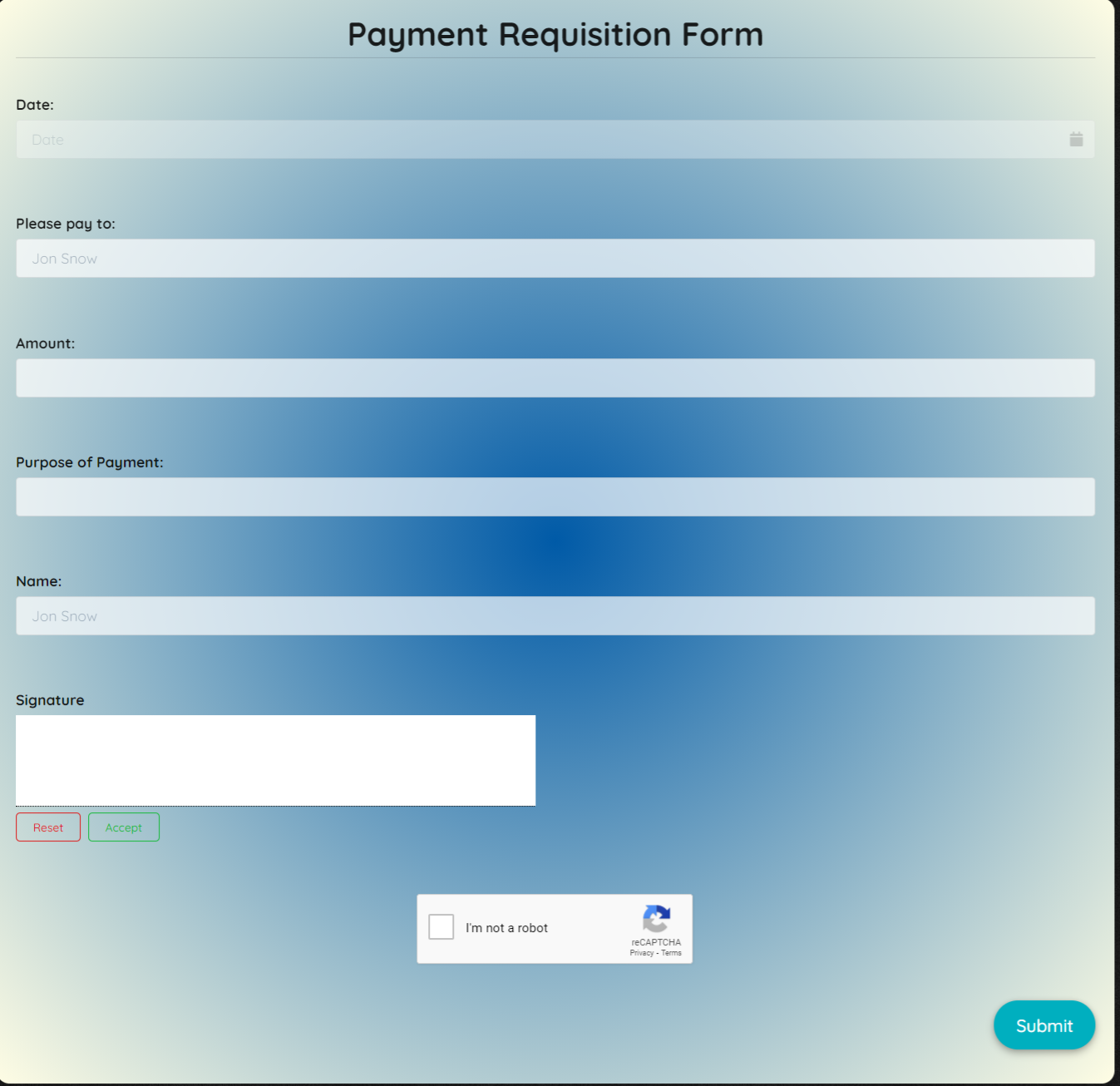 Payment Requisition Form Template template