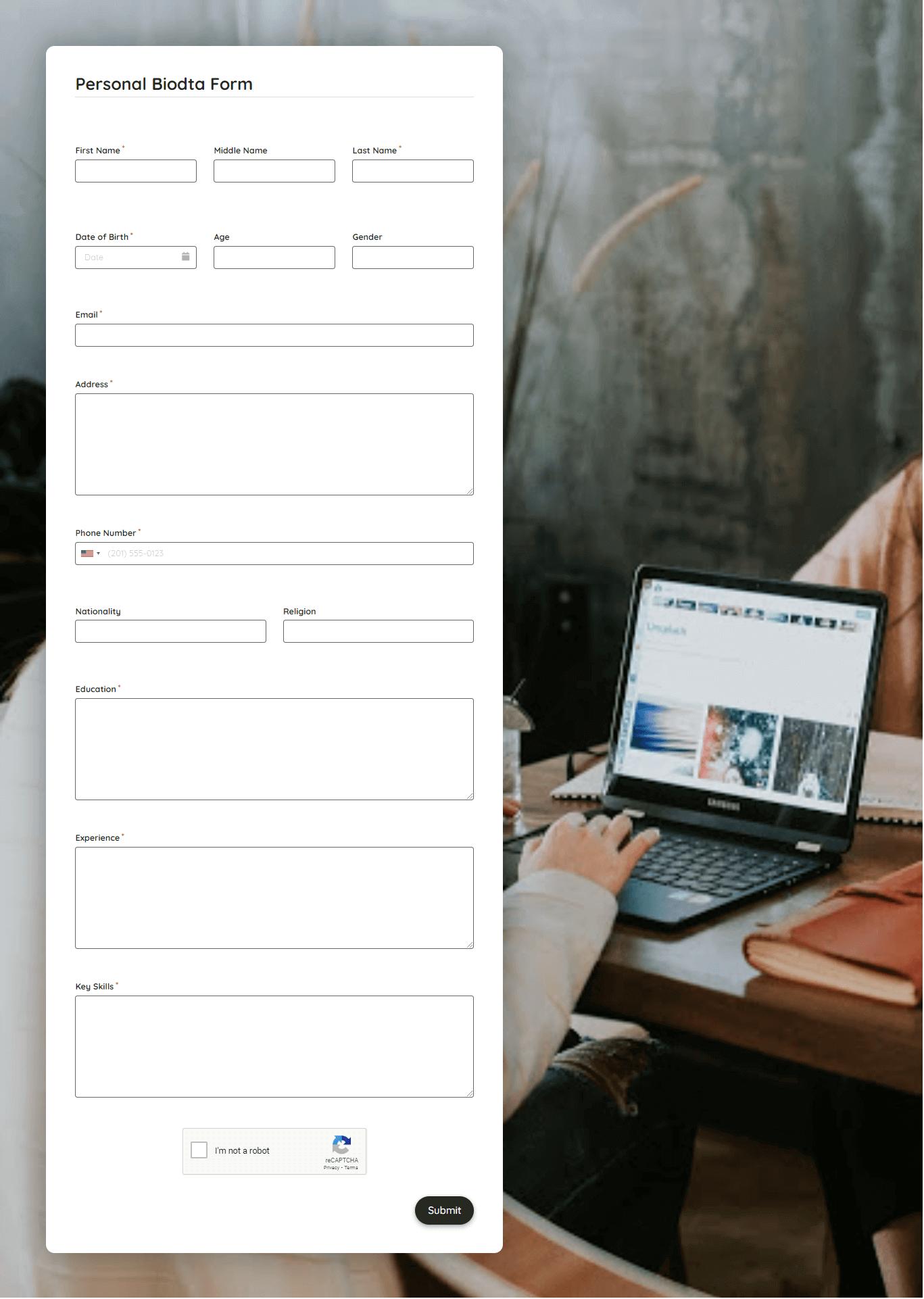 Personal Biodata Form Template template
