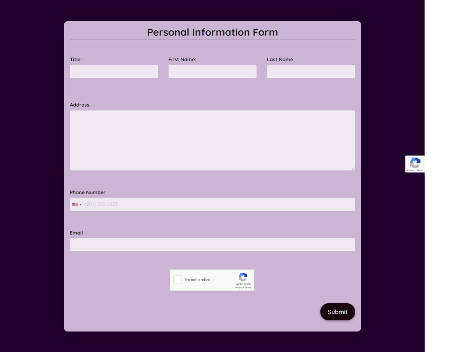 Personal Information Form Template template