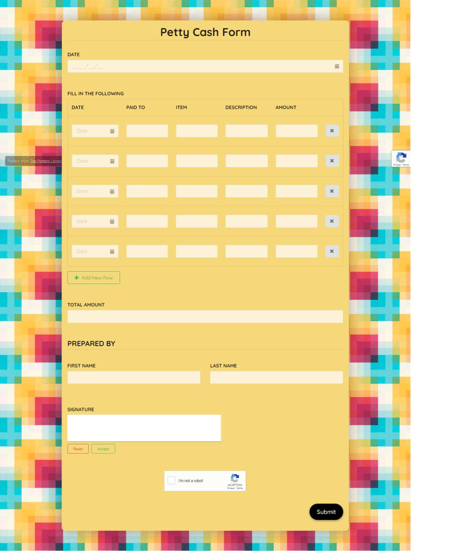 Petty Cash Form Template template