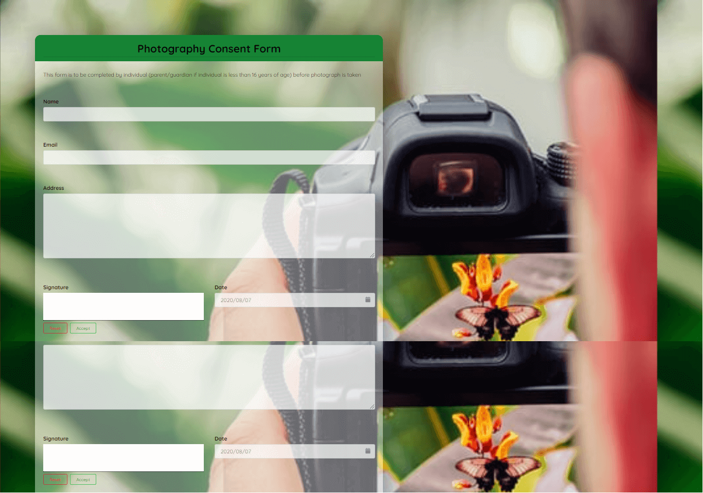 Photography Consent Form Template template