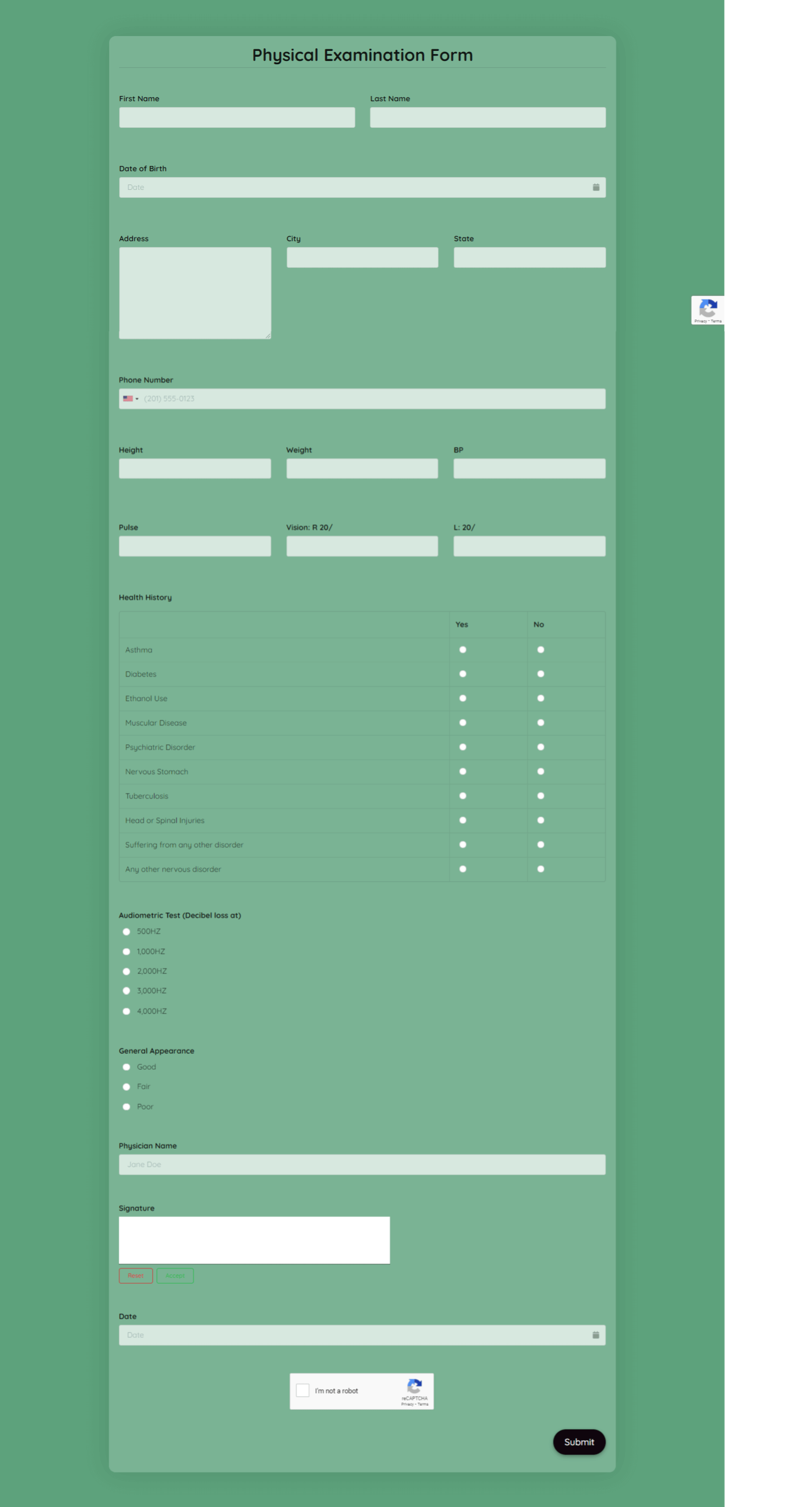 Physical Examination Form Template template